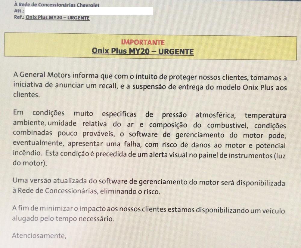 Chevrolet Onix Plus tem entregas suspensas por risco de incêndio Comuni10