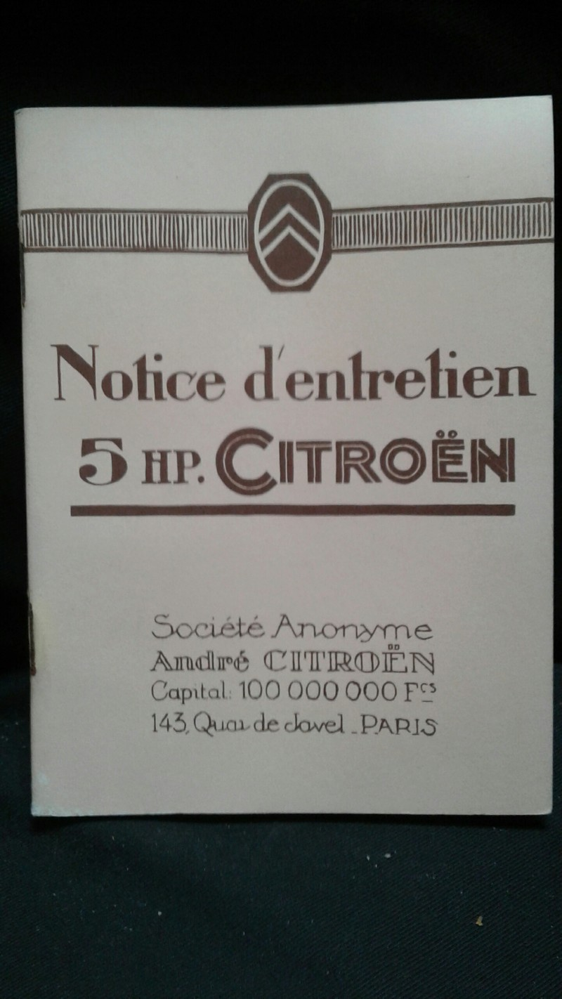 Notice d' Entretien 5HP originale 20180611