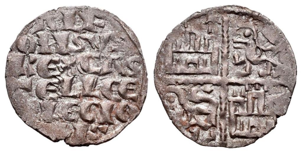 Dinero de la Iª Guerra de Granada de Alfonso X. ¿Flor de lis? en 1º cuartel Alfons10
