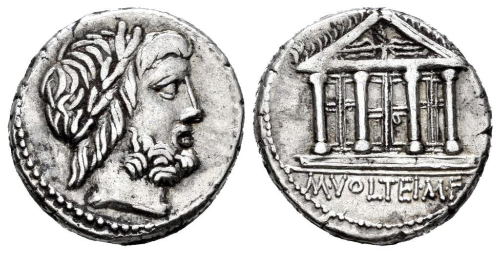 Denario de la gens Volteia. M. VOLTEI. M. F. Templo tetrástilo de Júpiter Capitolino Roma. R-385_10