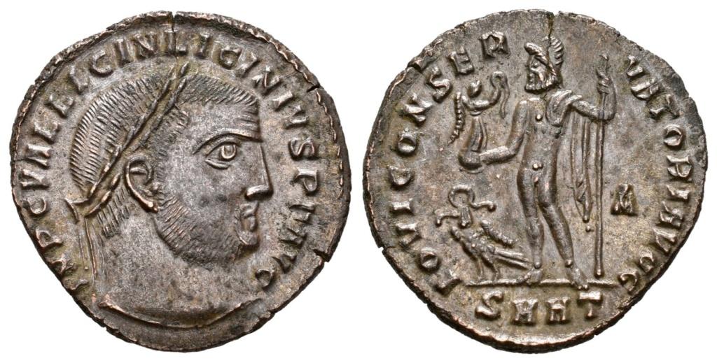 Nummus de Licinio I. IOVI CONSERVATORI AVGG. Júpiter estante a izq. Heraclea. R-800912