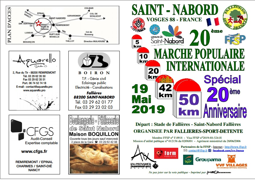 20ème Marche Populaire - St Nabord (88) - 19/05/2019 - 50 Km A11