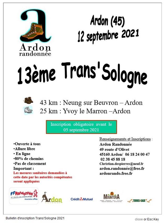 Trans' Sologne - Ardon (45) - 43 Km - Dim 12 Sept 2021 Aaaa11