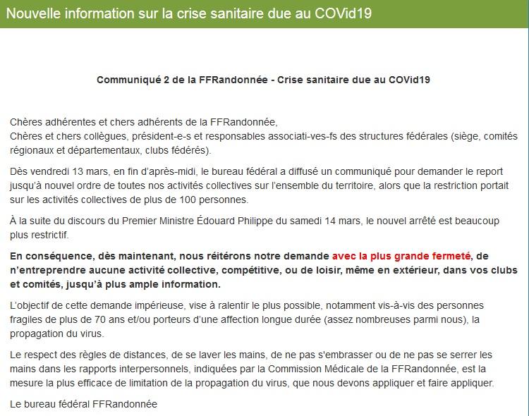 FFRandonnée - épidémie COVid19 - communiqué Marche19