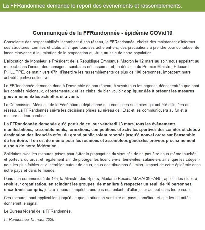 FFRandonnée - épidémie COVid19 - communiqué Txt10