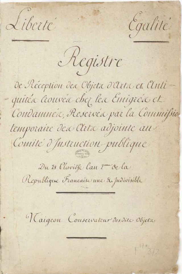 Archives Nationales, Registre d'objets d'arts des émigrés, 1794 Fran_011
