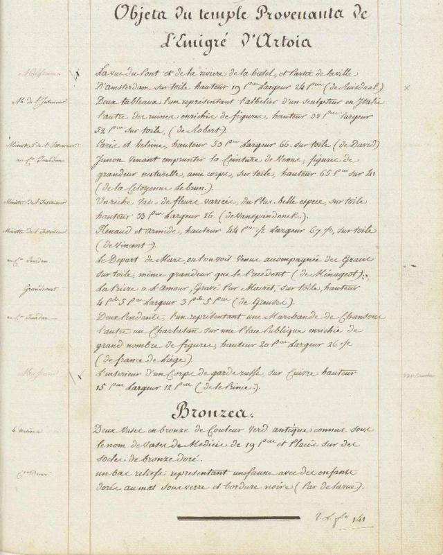 Archives Nationales, Registre d'objets d'arts des émigrés, 1794 Temple10