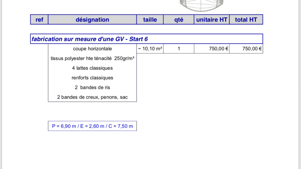 Grand voile Start 6 96724510
