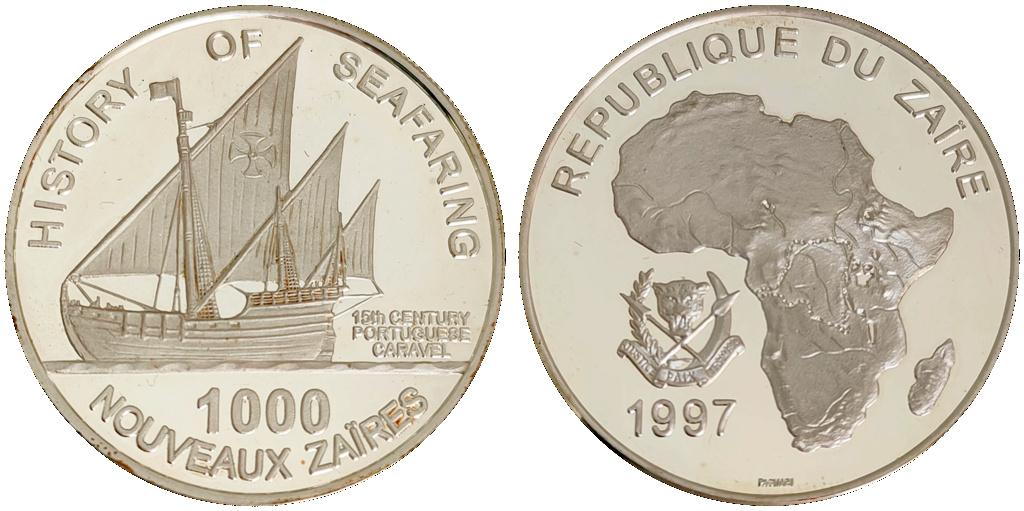1000 nouveaux zaïres. 1997 República del Zaire 0010