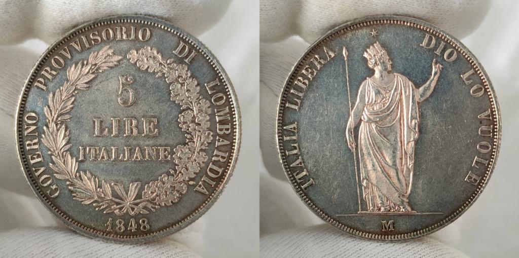 5 Liras 1848 Italia. Gobierno provisional de Lombardía 0110