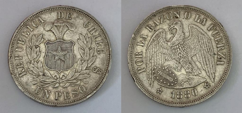 """República de Chile 1 peso 1880. """"Peso Pechugón"""" 0118"""