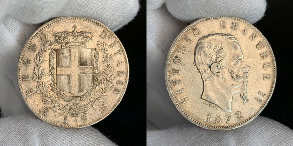 5 liras Reino de Italia 1872 0127