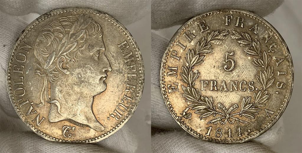5 francos Francia, primer imperio 1811 0141