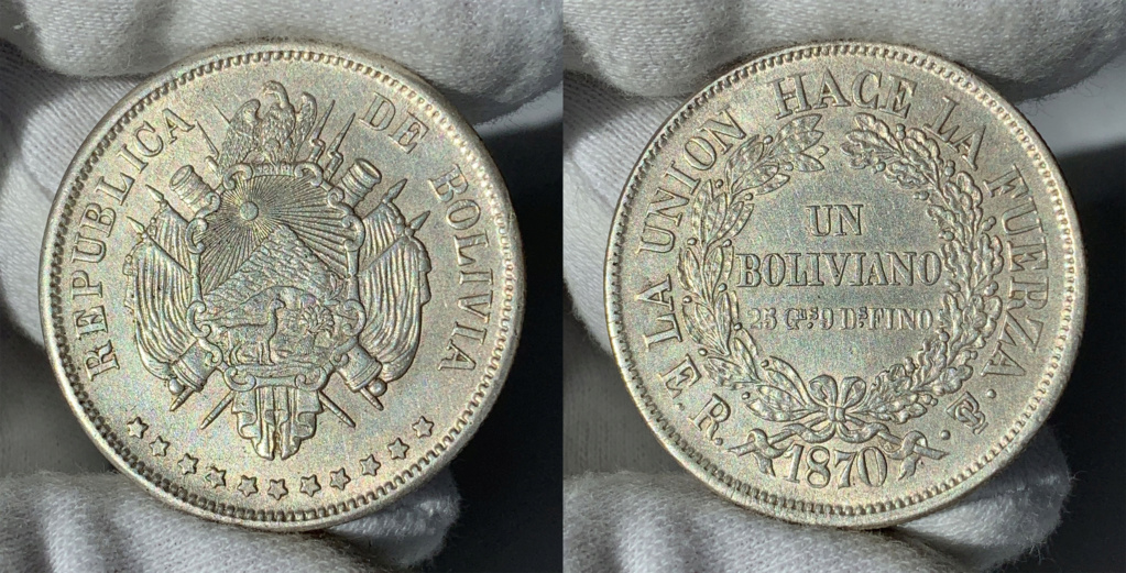 1 Boliviano de 1870. República de Bolivia. 0143
