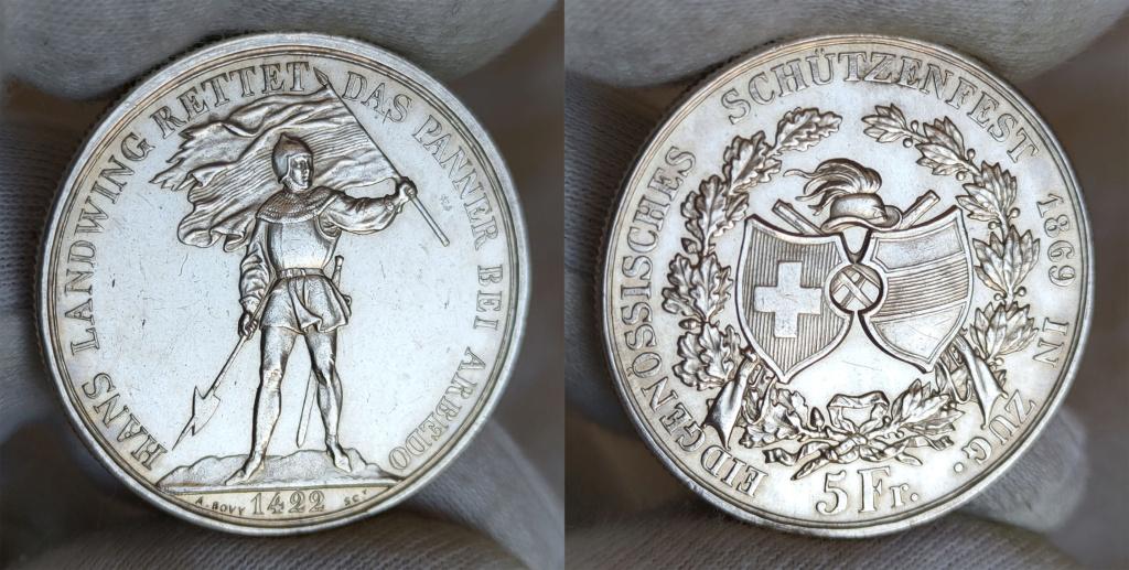 5 francos suizos 1869 Suiza -Shooter Thaler- 0161