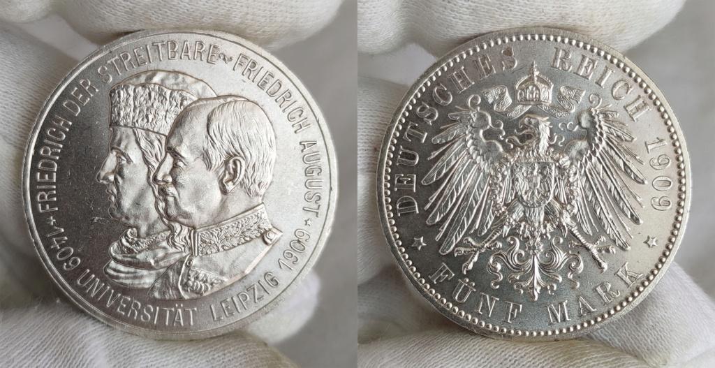 5 marcos. Imperio Alemán 1909 0164