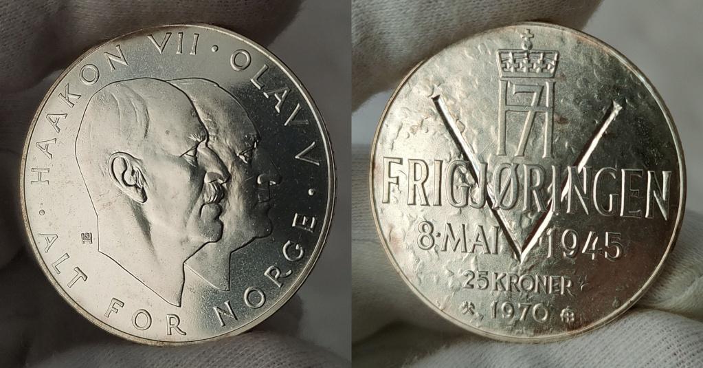 25 Kroner 1970 Noruega. 25 Aniversario de la Liberación 0167