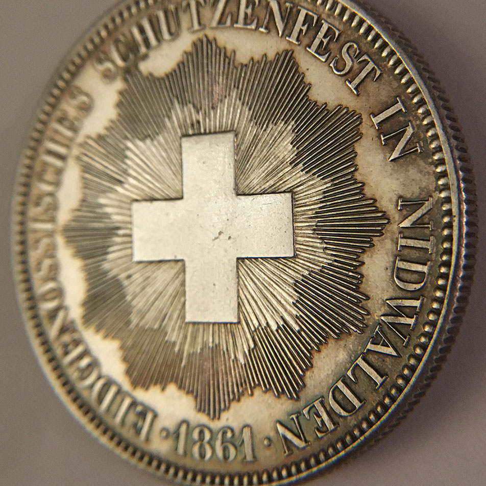 5 francos del Festival de tiro Suizo de Nidwalden 1861 0210