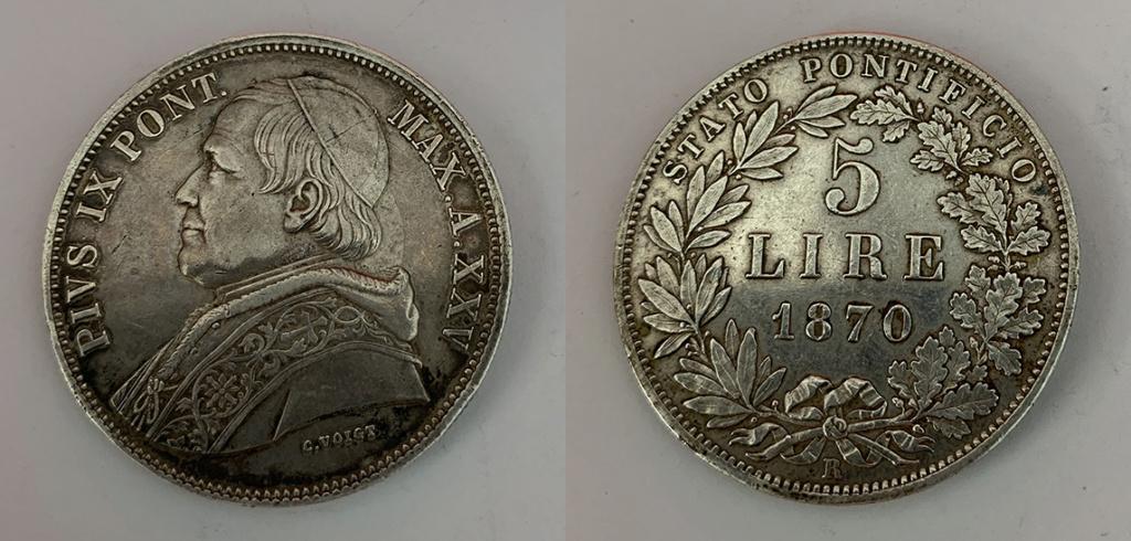 5 Liras Estados Pontificios 1870 0215