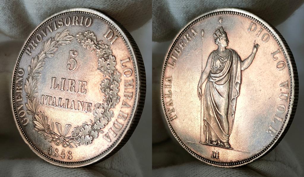 5 Liras 1848 Italia. Gobierno provisional de Lombardía 0310
