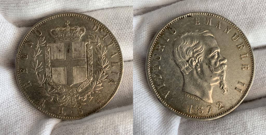 5 liras Reino de Italia 1872 0323