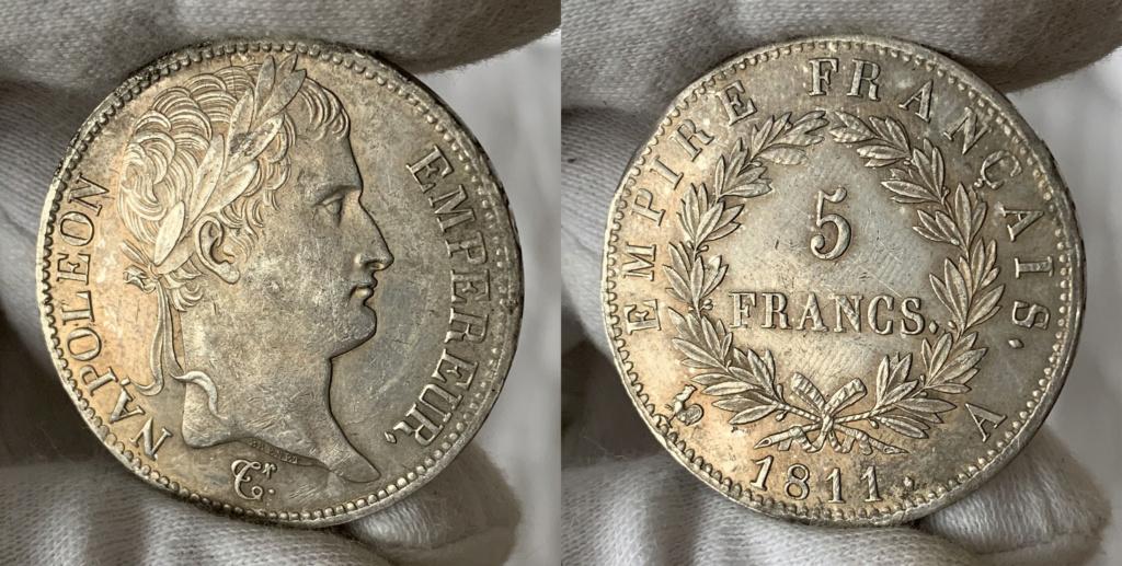 5 francos Francia, primer imperio 1811 0336