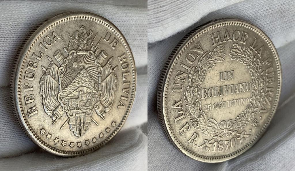 1 Boliviano de 1870. República de Bolivia. 0338