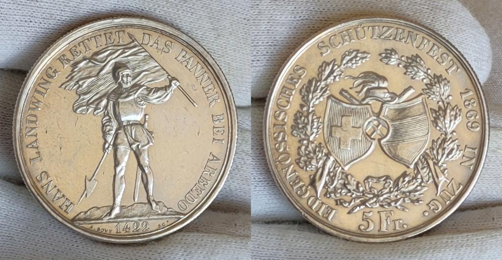 5 francos suizos 1869 Suiza -Shooter Thaler- 0355