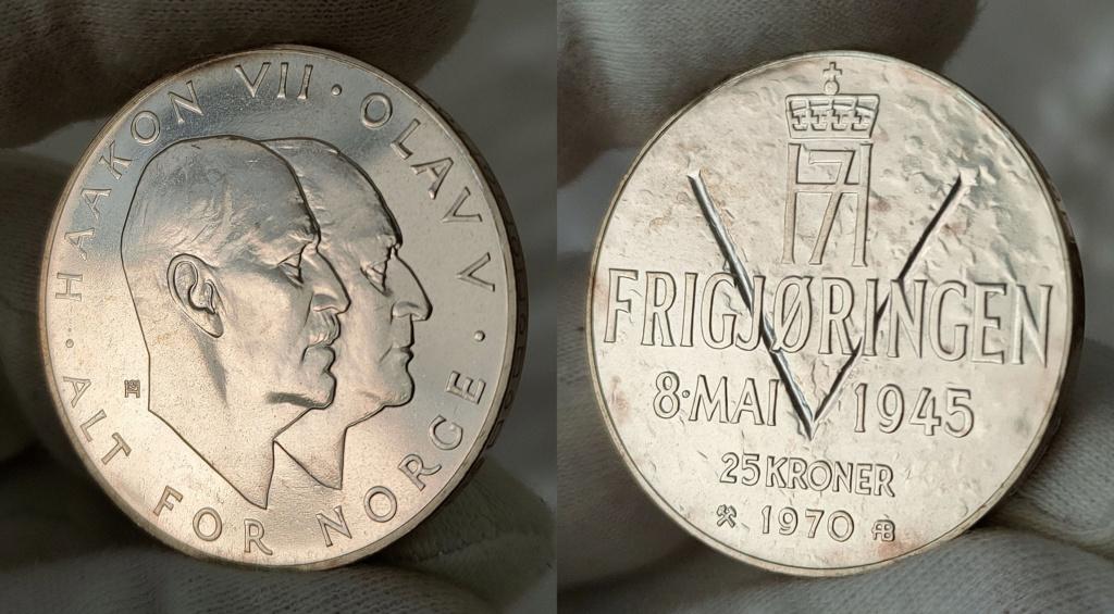 25 Kroner 1970 Noruega. 25 Aniversario de la Liberación 0361