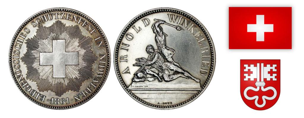 5 francos del Festival de tiro Suizo de Nidwalden 1861 0410