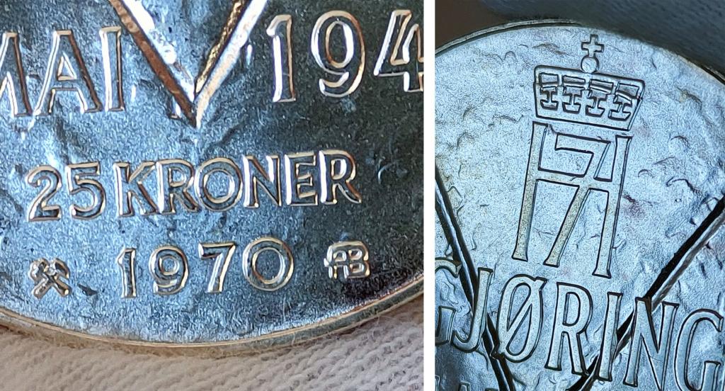 25 Kroner 1970 Noruega. 25 Aniversario de la Liberación 0431