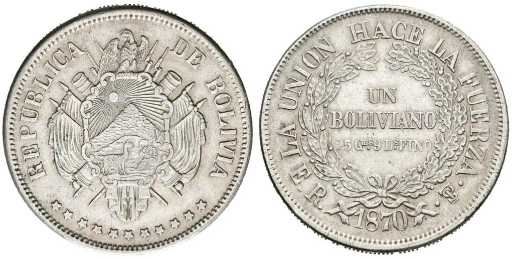 1 Boliviano de 1870. República de Bolivia. 1_boli10