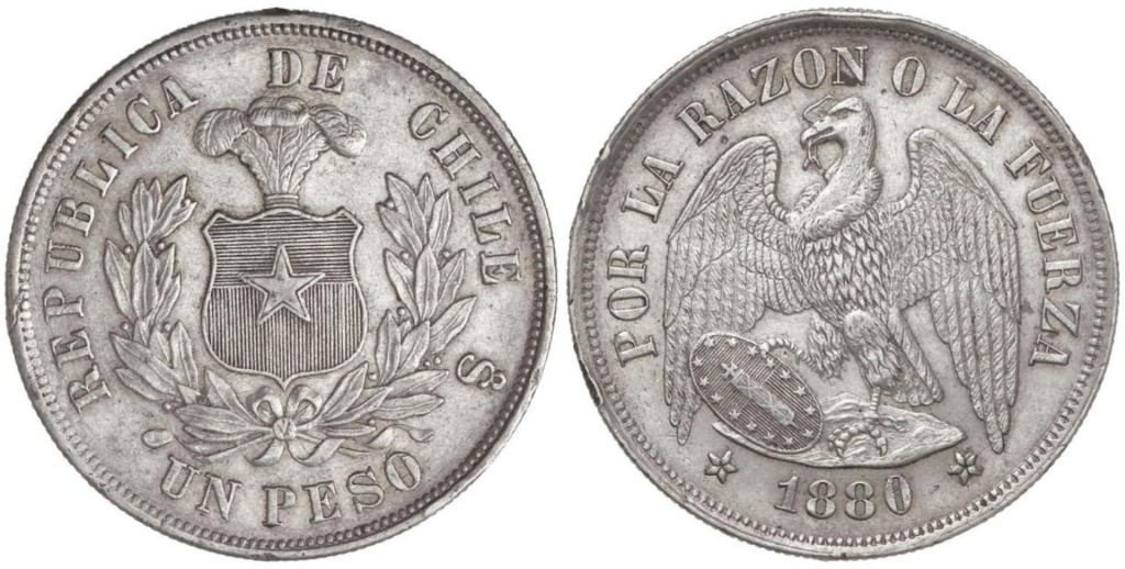 "República de Chile 1 peso 1880. ""Peso Pechugón"" 1_peso10"