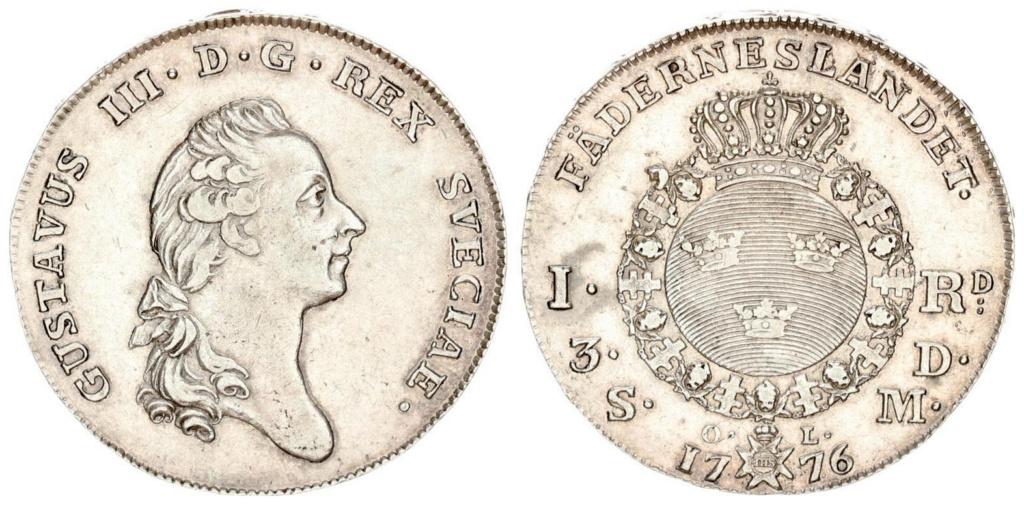 Suecia 1 Riksdáler o 3 Dáler Silvermint 1776 1_riks10