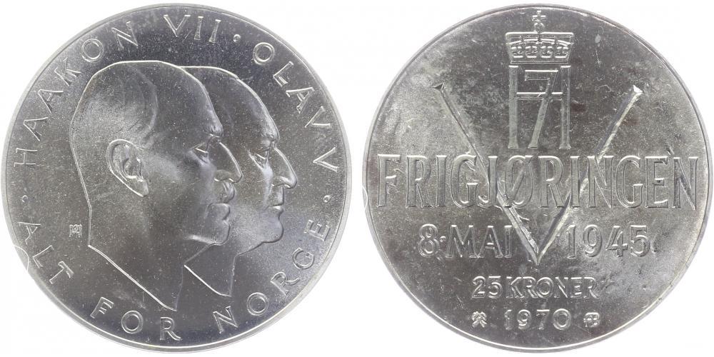25 Kroner 1970 Noruega. 25 Aniversario de la Liberación 25_kro10