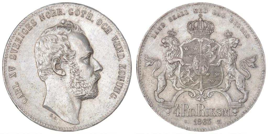 4 Riksdáler Riksmynt 1863. Suecia 4_riks10
