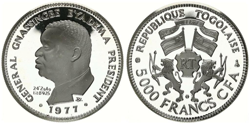 5000 francos cfa. Republica de Togo 1997 5000_f13