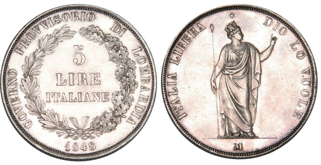 5 Liras 1848 Italia. Gobierno provisional de Lombardía 5_lira12