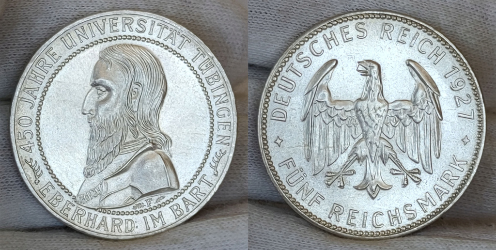 5 marcos 1927 Alemania. 450 aniversario de la Universidad de Tübingen 5_marc17