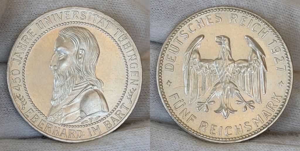 5 marcos 1927 Alemania. 450 aniversario de la Universidad de Tübingen 5_marc20