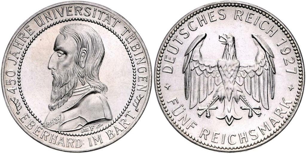 5 marcos 1927 Alemania. 450 aniversario de la Universidad de Tübingen 5_marc21