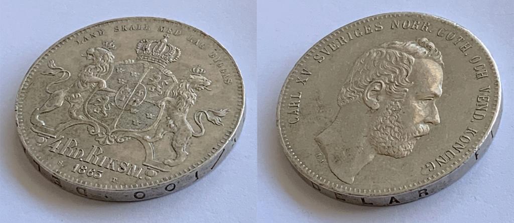 4 Riksdáler Riksmynt 1863. Suecia Riksda12