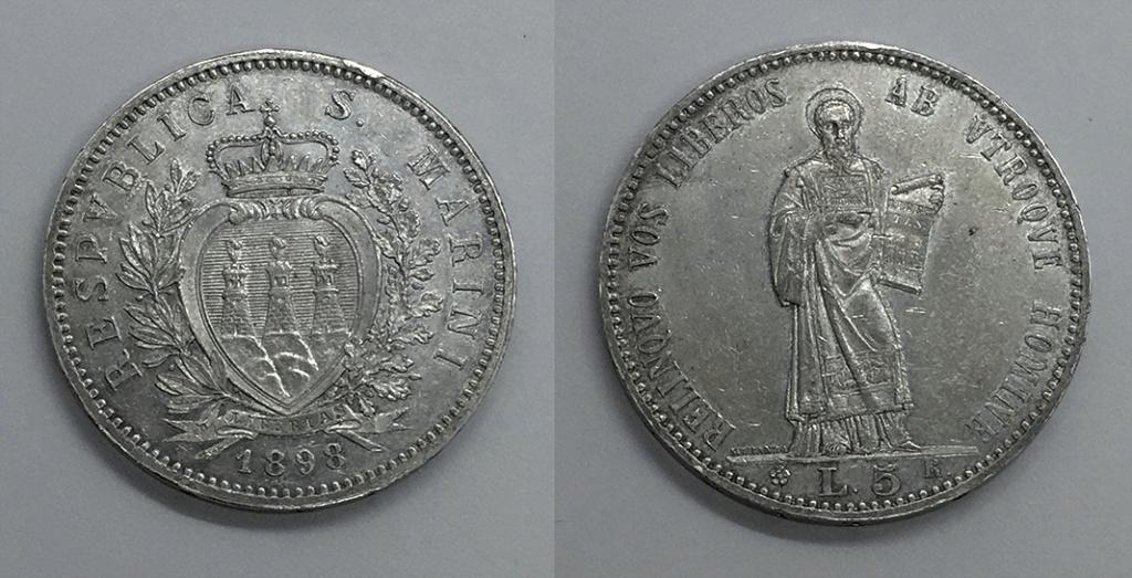 5 Liras San Marino 1898 Sanmar15