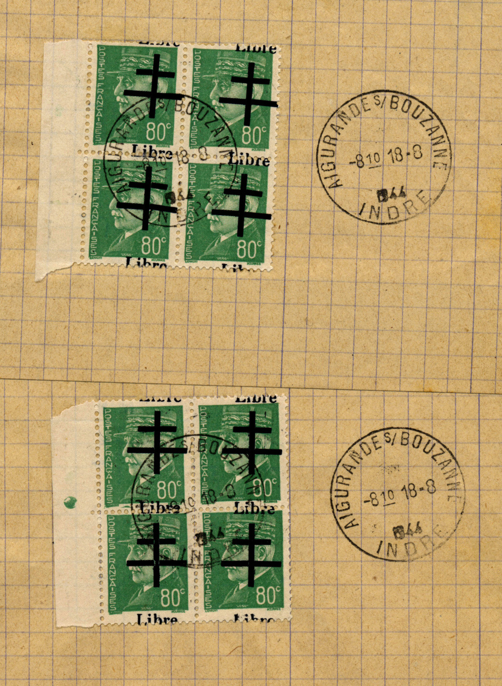 Timbres de la libération d'Aigurande (Oblitérations sur lettre). Deuxbl10
