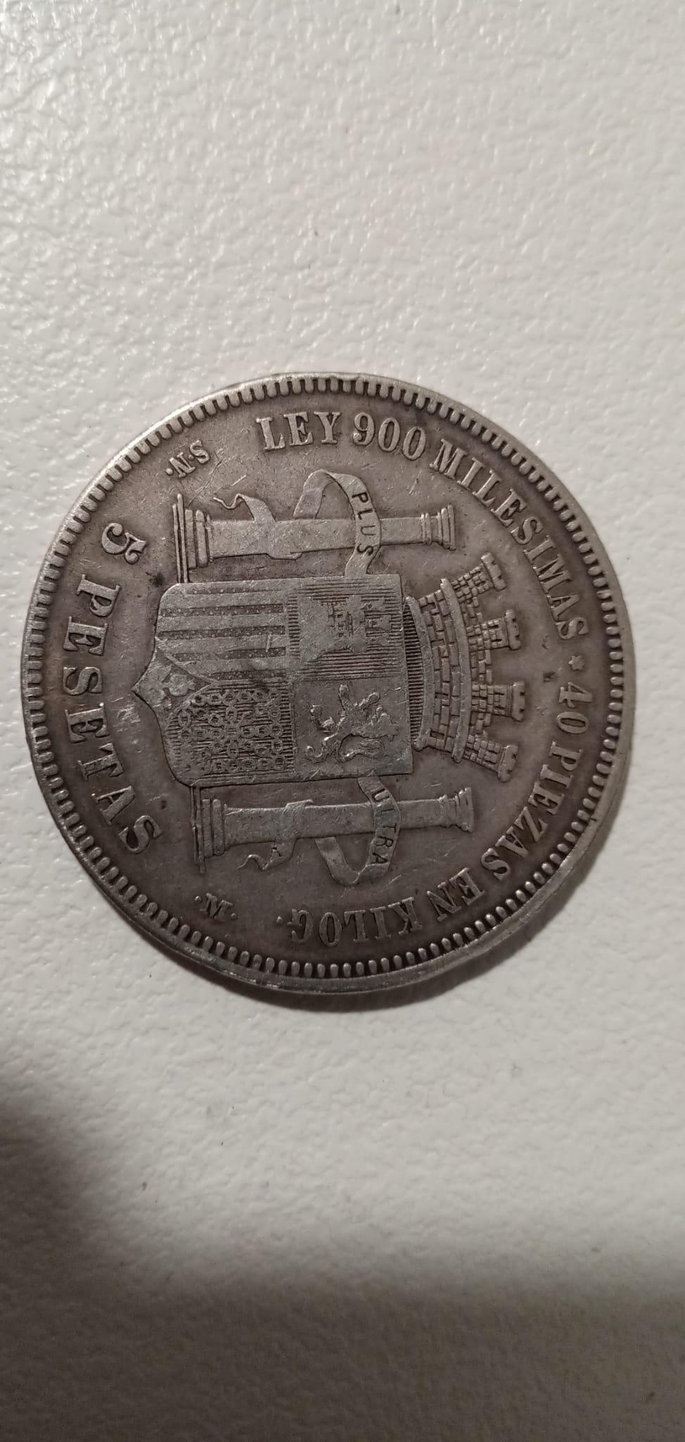 5 pesetas 1870 SNM 610