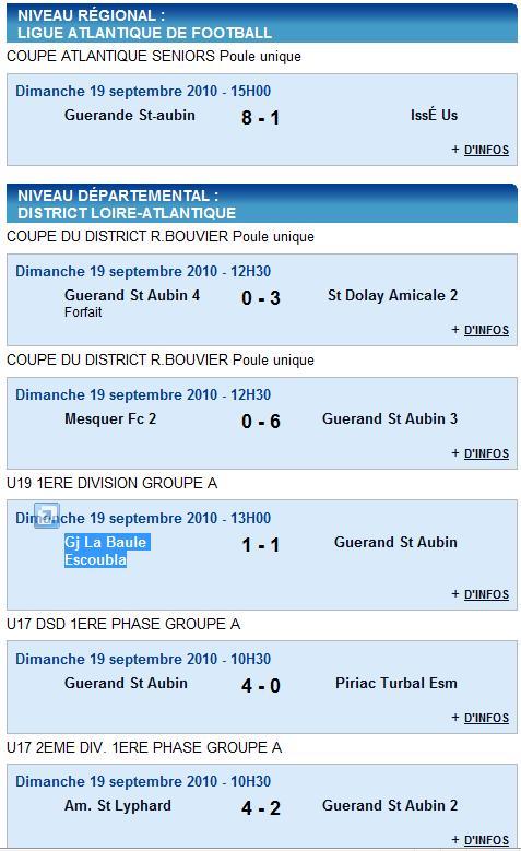 Résultats du Club 18 et 19-09-10 et Agenda du week end 25 et 26-09-10 Rasult16