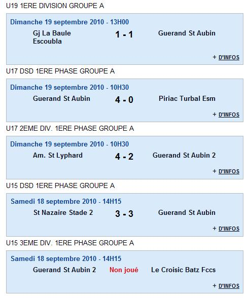 Résultats du Club 18 et 19-09-10 et Agenda du week end 25 et 26-09-10 Rasult17