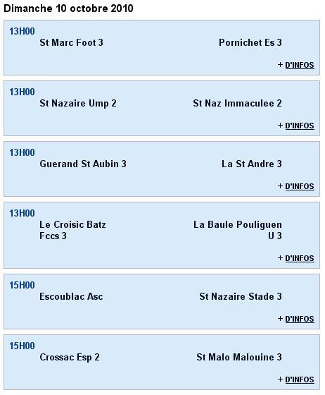 Senior C (3e division) - La Baule Pouliguen U 3 [3 - 3] Guerande St Aubin 3 - 2e journée (26-09-10) Sag_se12