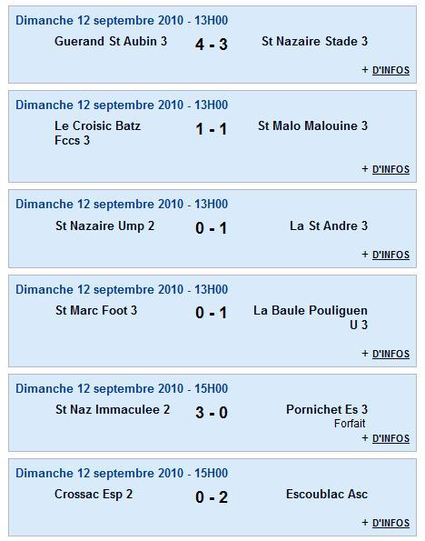 Senior C (3e division) - Guerande St Aubin 3 [4 - 3] St Nazaire Stade 3 - 1ère journée (12-09-10) Senior14