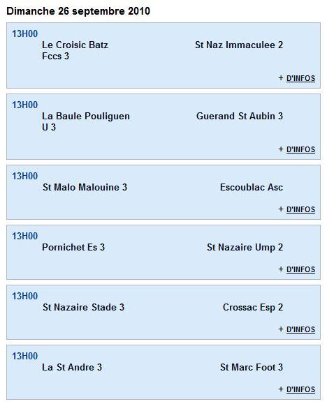 Senior C (3e division) - Guerande St Aubin 3 [4 - 3] St Nazaire Stade 3 - 1ère journée (12-09-10) Senior15